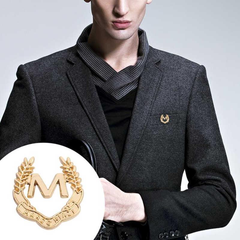 1 PC Letter M ป้ายธุรกิจสูทผู้ชายเข็มกลัด Pin เข็มกลัดทองอุปกรณ์เสริมแฟชั่นผู้ชายผู้หญิงเสื้อ Tie POCKET pins