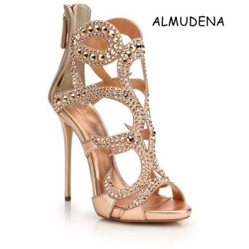 Women Sexy Bling  Bling  Crystal   High Heel Sandals Shiny Leather Bridal Gold Plated  Hollow Out   Suede Wedding Sandal Shoes