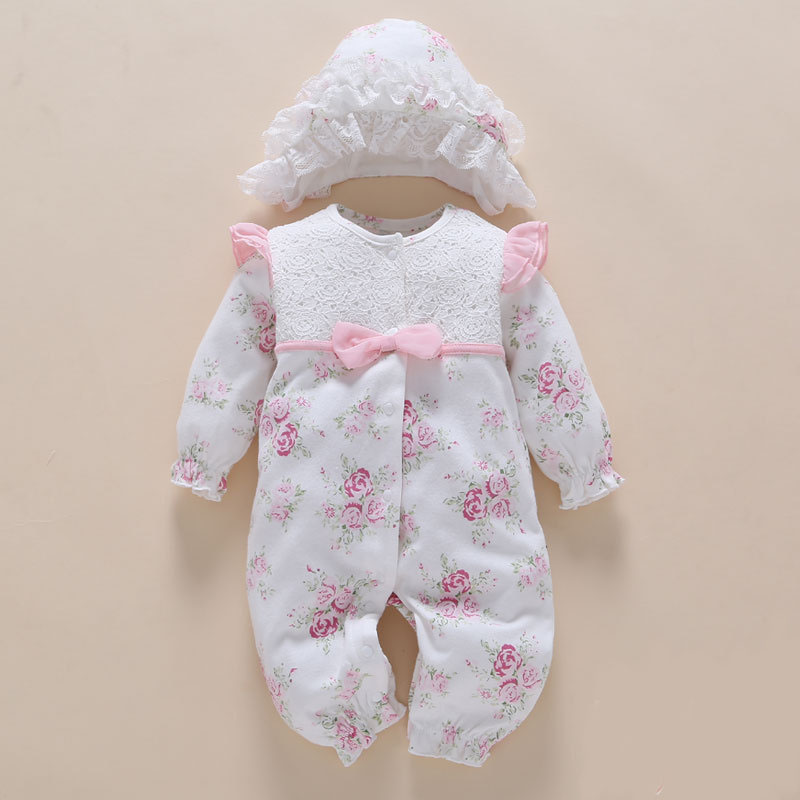 100% Cotton Newborn Baby   Romper   with Flowers&hat 0 3 Months Long Sleeve Bowtie White Body Suit Girl Baby Clothes China overalls