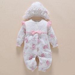 Noworodek ubrania i pajacyki 0 3 6 miesięcy z długim rękawem białe ubrania dla dzieci dziewczyna bawełna drukuj kwiat ubrania dla dzieci zestawy ropa bebe