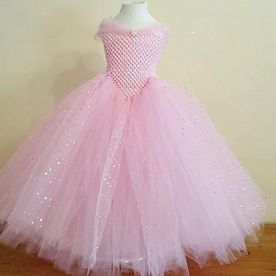 Girls Blue Glitter Princess Tutu Dress Elsa Inspired Kids Rhinestone Wedding TUTU Ball Gown Children Prom Birthday Party Dress 4