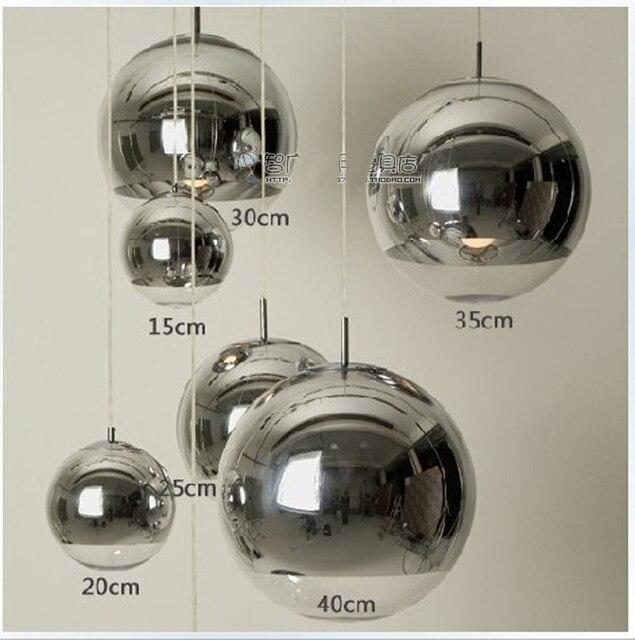 Moderne Mode Versilbert Glaskugel Anhänger Leuchte Home Deco E27 Esszimmer  DIY Chrome Pendelleuchte