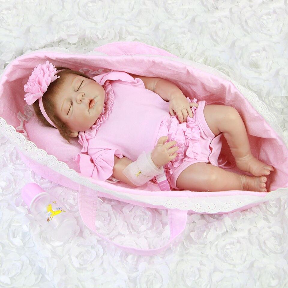 57 cm Lifelike Reborn Baby Dolls Sleeping In Pink Basket Realistic 23'' Babies Vinyl Doll Full Body Bebe Toy Kids Playmantes