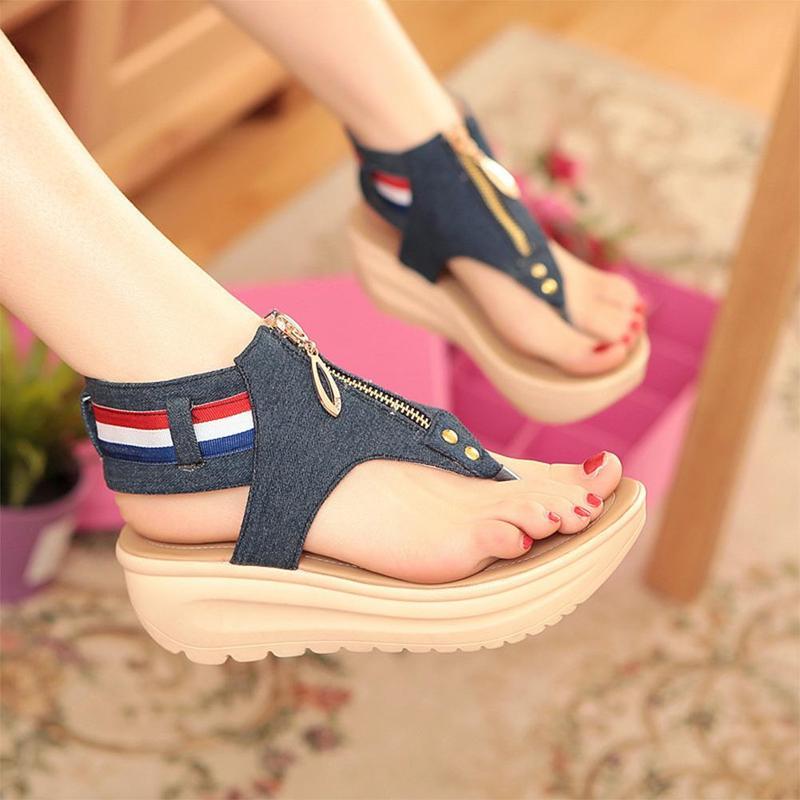 Wedges Shoes For Women High Heel Summer Ladies Gladiator Sandals Woman Platform Cowboy Zipper Sandalias Mujer 2018 hj98 10