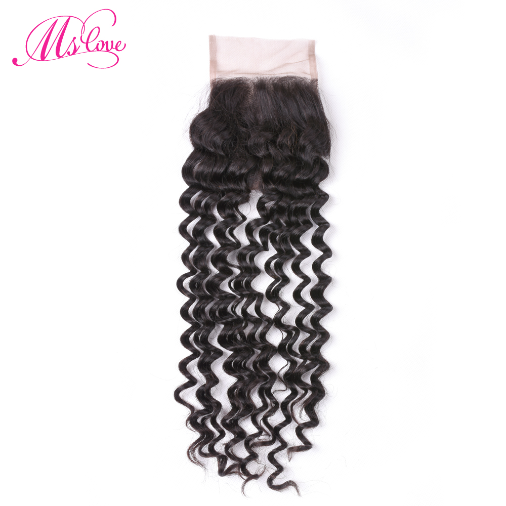 Ms Love Deep Wave Closure 4*4 Peruvian Human Hair Closure Middle/Free/Three Part Lace Non Remy Hair Natural Color