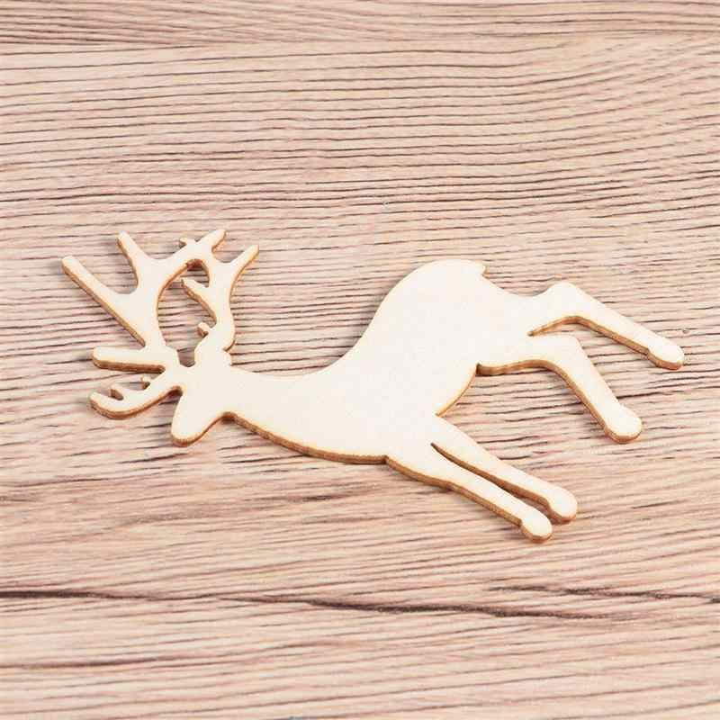 5pcs เลเซอร์ตัดไม้ Reindeer ชิ้นคริสต์มาส DIY Crafting ตกแต่งจี้คริสต์มาสแขวนเครื่องประดับ A3
