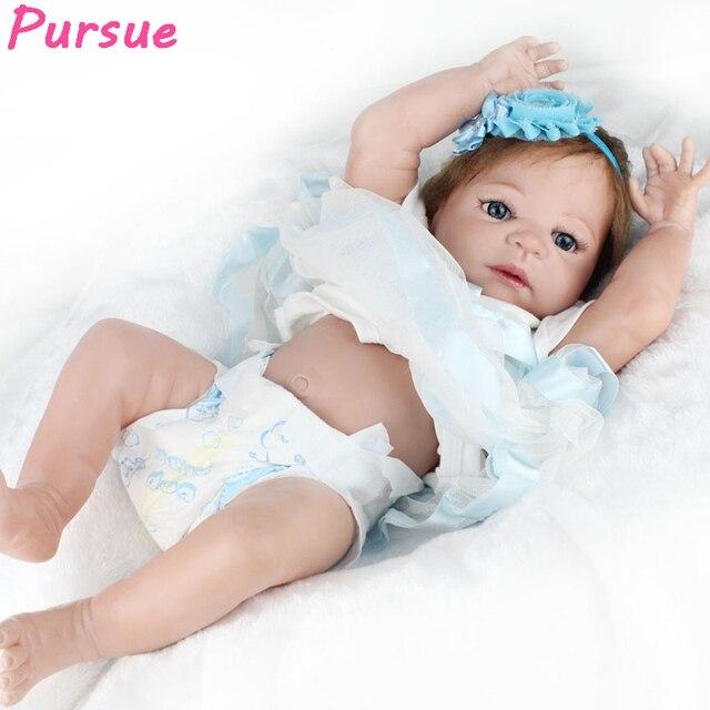 5f704c6bc2 Perseguir 57 cm Lifelike Silicone Renascer Baby Dolls com Corpo de Silicone  Realista Boneca Reborn Menina