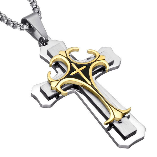 Us7 two tone gold color cross mens pendant necklace trendy us7 two tone gold color cross mens pendant necklace trendy stainless steel titanium necklaces aloadofball Images