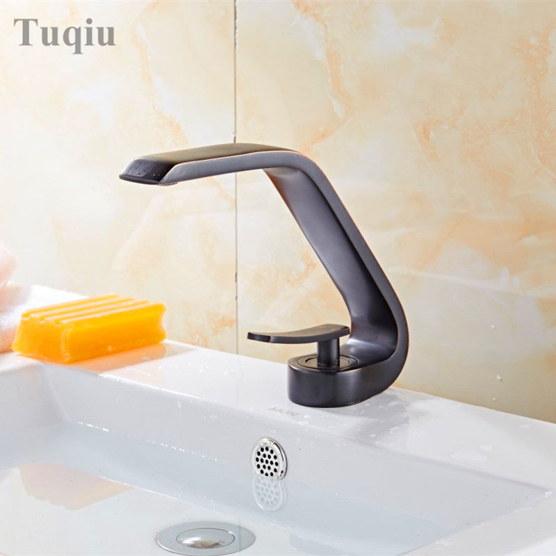 Free Shipping Elegant Black Brass Bathroom basin Faucet Luxury Sink Mixer Tap Deck Mounted Hot And Cold Sink Mixer Tap Faucet free shipping luxury three piece bathroom faucet brass chromed basin tap wall mounted waterfall faucet lt 303