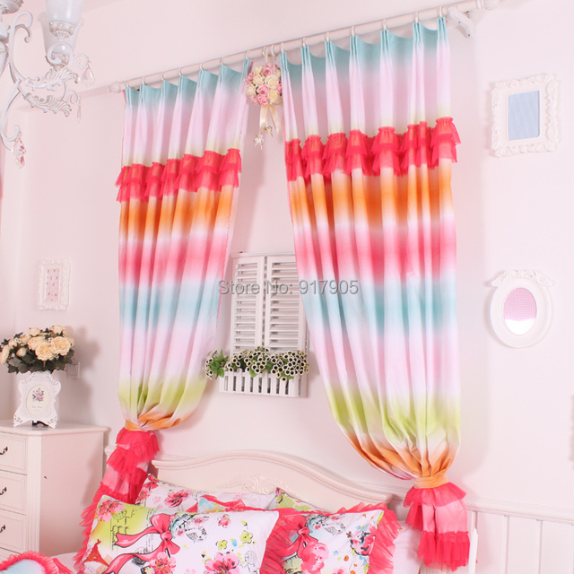 Romantic Rustic Rainbow Curtains For Living Room, Luxury Red Lace ...