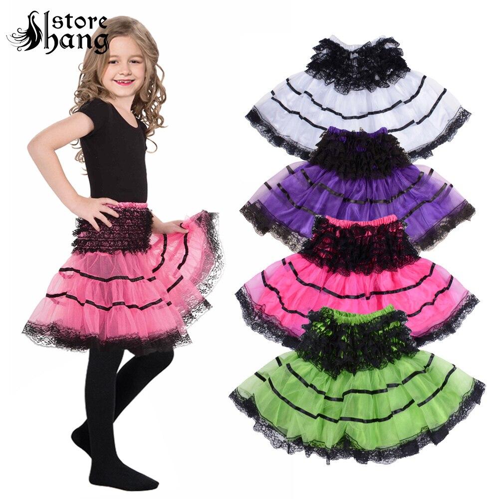 Girls Petticoat High Waist Elastic Corset Pleated Skirt Lace Crinoline Ballet Dance Dress Underskirt Fluffy Mini Tutu Skirts