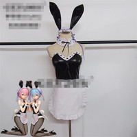Anime cosplay Re: zero Ram cosplay costume Rem jumpsuits sexy body suit bunny outfit maid outfit apron dress A