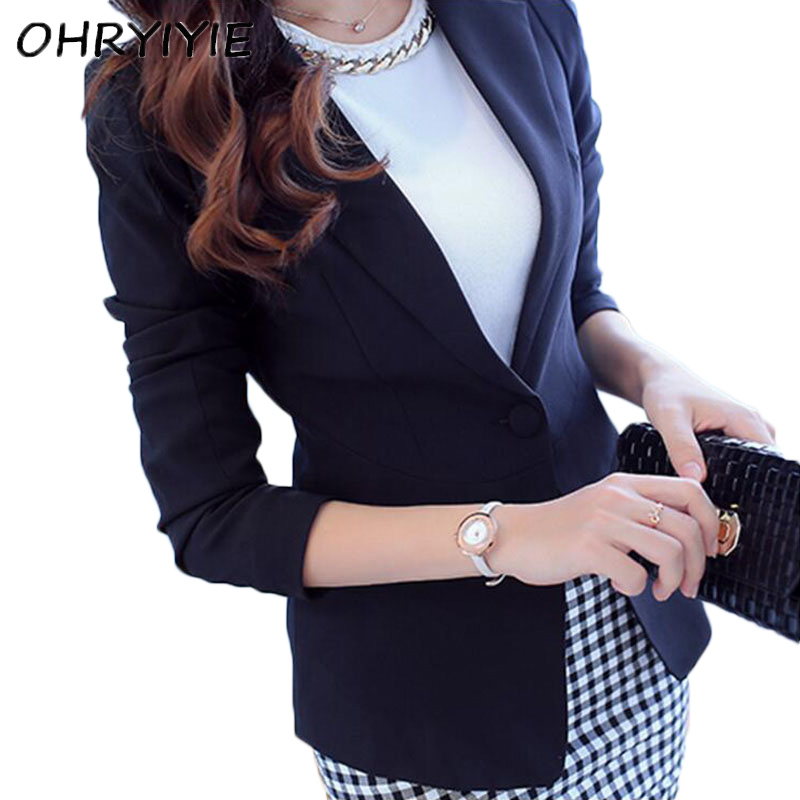 OHRYIYIE White Female Blazer Long Sleeve Blaser Women Suit jacket Female Feminine Blazer Femme Black Single Button Blazer