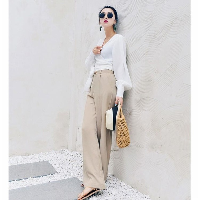 woherb 2019 modis Summer Wide Leg Pants Women elastic High Waist Palazzo Pants streetwear Elegant Office Ladies Trousers 22507