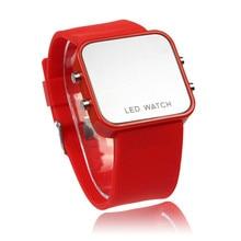 Mini LED Digital Calendar Day/Date Silicone Sport Mirror Faceless Men Lady Watch DEC13