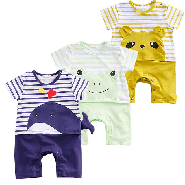 New Baby Rompers Hot Summer New Baby Boys Clothes Cartoon Whale Casual Stripe Short-sleeved Jumpsuit Toddlor Infant Clothing 2