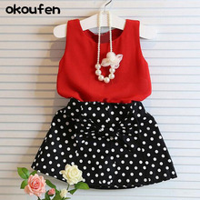 okoufen 2018 new fashion baby girl dress quality sleeveless tops and dot bow underdress girls suit children kids clothes