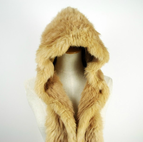 rabbit fur hat  with scarf  women cap of Natural rabbit fur ,scarf for girl Fashion  yellow autumn winter warm hat with fur H368