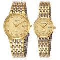 WOONUN Pareja Relojes Para Los Amantes de La Moda de Primeras Marcas de Lujo de Oro Reloj de Cuarzo Relojes Mujeres de Los Hombres de Acero Inoxidable Ultra Delgado relojes