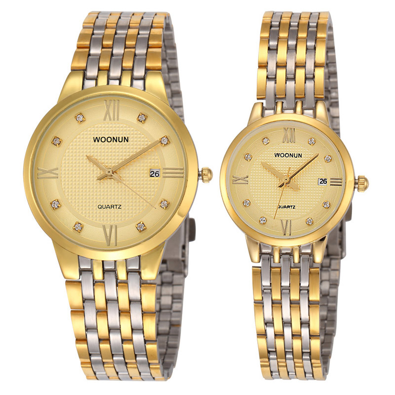 WOONUN Top Brand Luxury Gold Couple Watches For Lovers Fashion Clock Stainless Steel Quartz-Watches Men Women Ultra Thin Watches