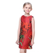 2019 New Girl Dresses Summer Casual Girls Clothes Flower Design Baby Dress Kids for 3-7Y