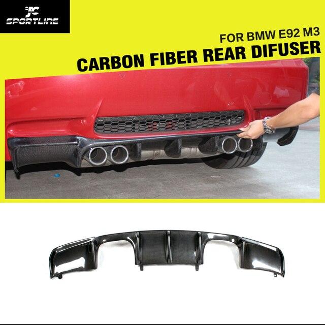 Carbon Fiber / Black FRP Car Rear Bumper Guard Lip Diffuser Spoiler for BMW 335i 328i 325i E92 M3 2007 - 2013