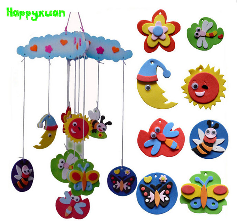 Happyxuan 4pcs/lot DIY Handmade Wind Chime Hangings Eva Foam Art Craft Kits  Room Decoration Educational Toys Children Series HQ4 In Puzzles From Toys  ...