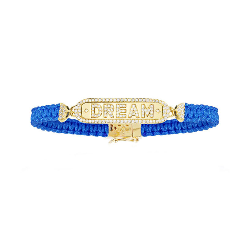 SLJELY High Quality 925 Sterling Silver Yellow Gold Color Letter Dream Blue Macrame Bracelet Women Luxury