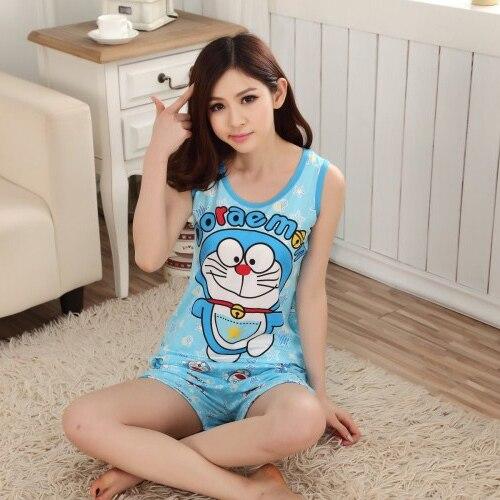 Cool summer women   pajama     sets   sleeveless sleepwear cotton adults girls vest cotton pyjama suits Cartoon Doraemon VEST + SHORTS