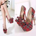 2017 Spring Autumn Women's Shoes with Heels European Scotland Plaid Butterfly Pumps Thick Heel Platform Shoes Woman Pumps 35-40