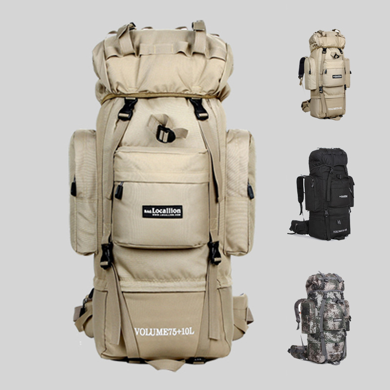 80 L Metal U-shaped Bracket Backpack Outdoor Bag Military Bag Tactical Bag Hiking Camping Waterproof Wear-resisting Nylon Bag