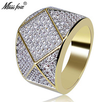 HOT!!! Hip Hop Diamond Polygon Personality Men'S Ring High Quality 18k Gold Ring Men Full Cubic Zirconia Micro Pave Sieraden