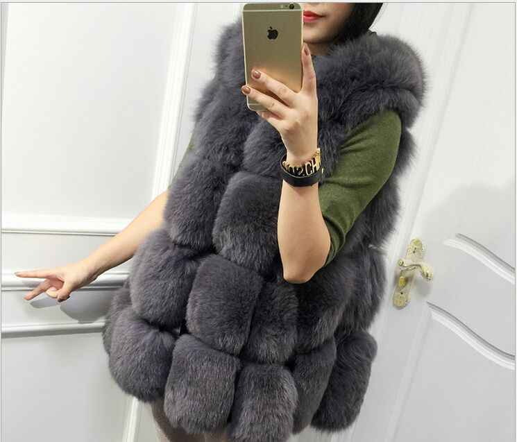 2016 Новый осень зима лиса шубу свободный тип юбка имитация fox жилет меховой жилет средней длины большой размер XXXL Женщин