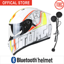 Bluetooth Connect Phone Support call motorbike Casco motorcross Gearracing helmet full face motorcycle  Dual lenses T128