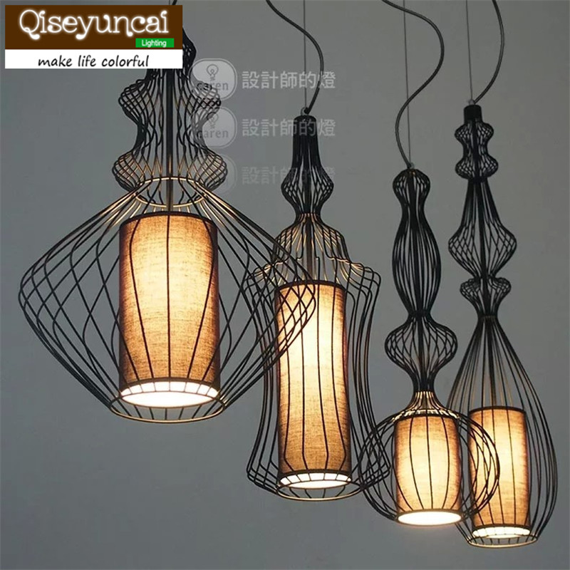 Qiseyuncai Coffee hall single head iron Wire mesh chandelier retro restaurant bar staircase Iron curve vase lighting