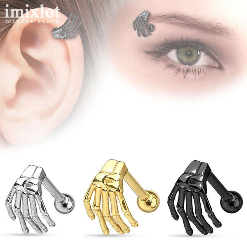 Imixlot 2Pcs Black/Gold/Silver Surgical Steel Helix Piercing Ring Eyebrow Ear Piercing Human Hand Claw Earrings Body Jewelry 目