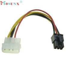 Кабель Высокое качество 4 Булавки Molex до 6 Булавки pci-express видео карта PCIe Мощность адаптер конвертер 18 см кабель кабо 17july4