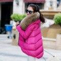 2016 женские Зимние Пальто Большой Меховой Воротник женские Пальто Нерегулярные Свободные Перо Дополняется Зима Вниз Пальто Зимнее Пальто женщины