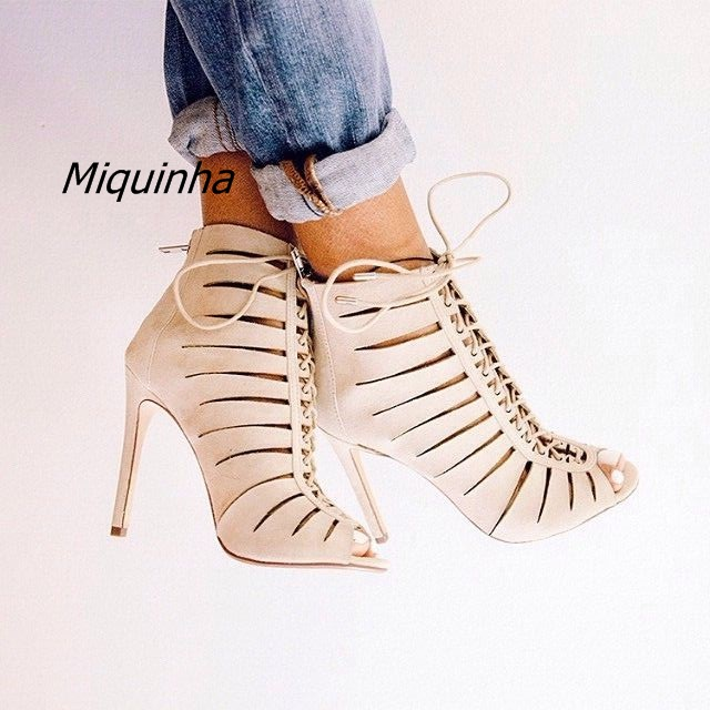 Fashion Beige PU Leather Women Stiletto High Heels Unique Cut-out Peep Toe Sandal Boots Women Lace Up Thin Heel Ankle Booties light khaki boots for women rivet peep toe platform boots studded suede women stiletto heel open toe sandal boot womens leather