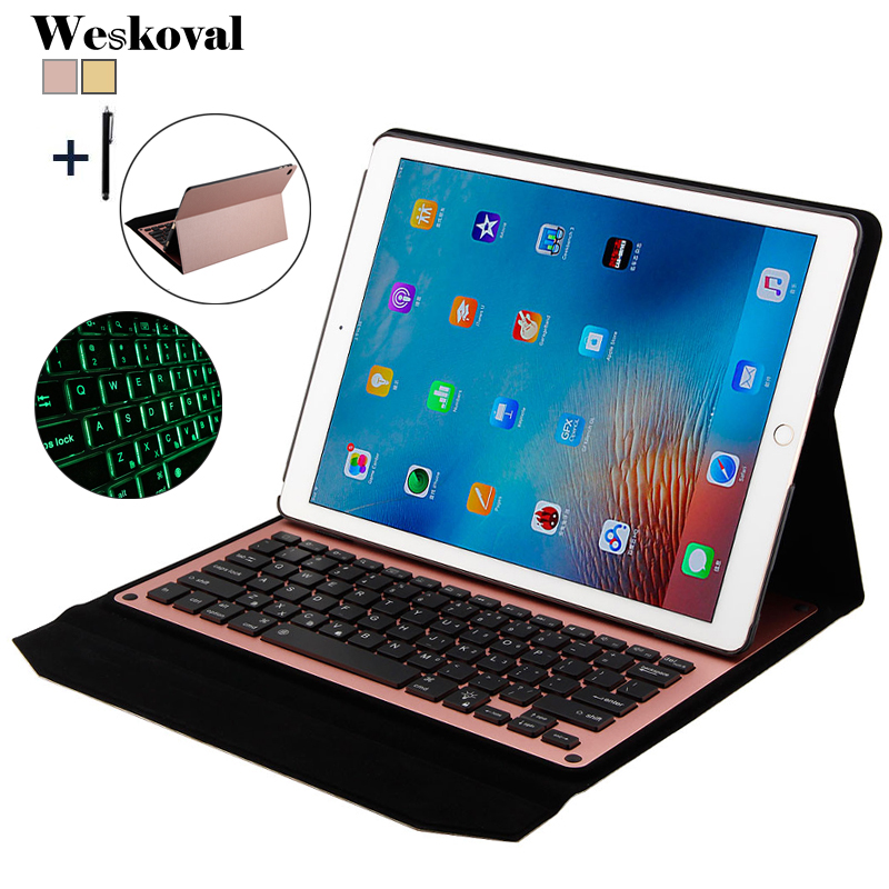 For iPad Pro 12.9 inch 2017 Wireless Bluetooth Keyboard Case For iPad Pro 12.9 2017 Tablet Flip Leather Stand Cover+Stylus 9 10 tablet universal wireless bluetooth keyboard case for asus lenovo huawie 9 10 tablet flip leather stand cover stylus