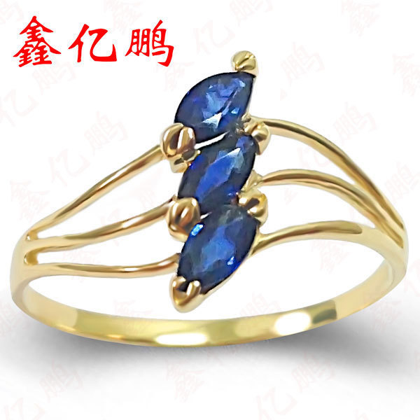 18 k gold inlaid natural sapphire ring 1