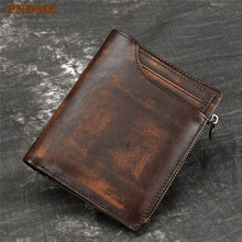 PNDME retro cowhide mens womens wallet casual simple genuine leather short handmade credit card ID holders female coin purse