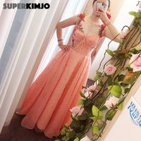 SuperKimJo Bestidos De Gala 2020 Peals Coral Prom Dresses Embrodiery Applique Elegant A Line Beaded Prom Gown