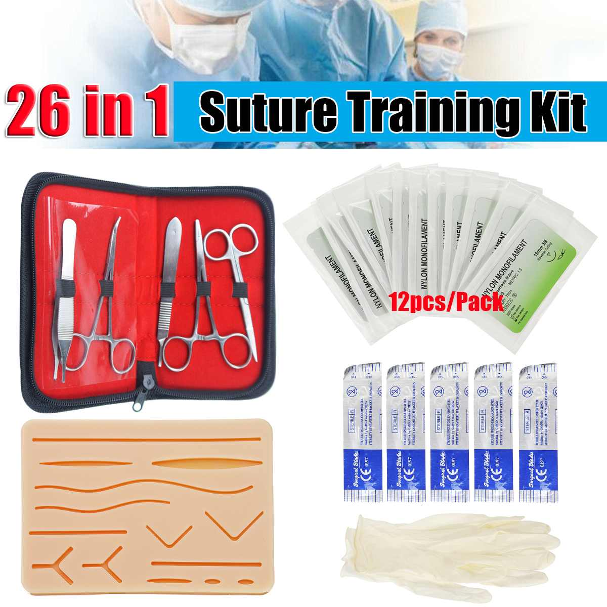 KICUTE 26 In 1 Medical Skin Suture Surgical Training Kit Silicone Pad Needle Scissors Silicone+Stainless Steel Teaching Resource