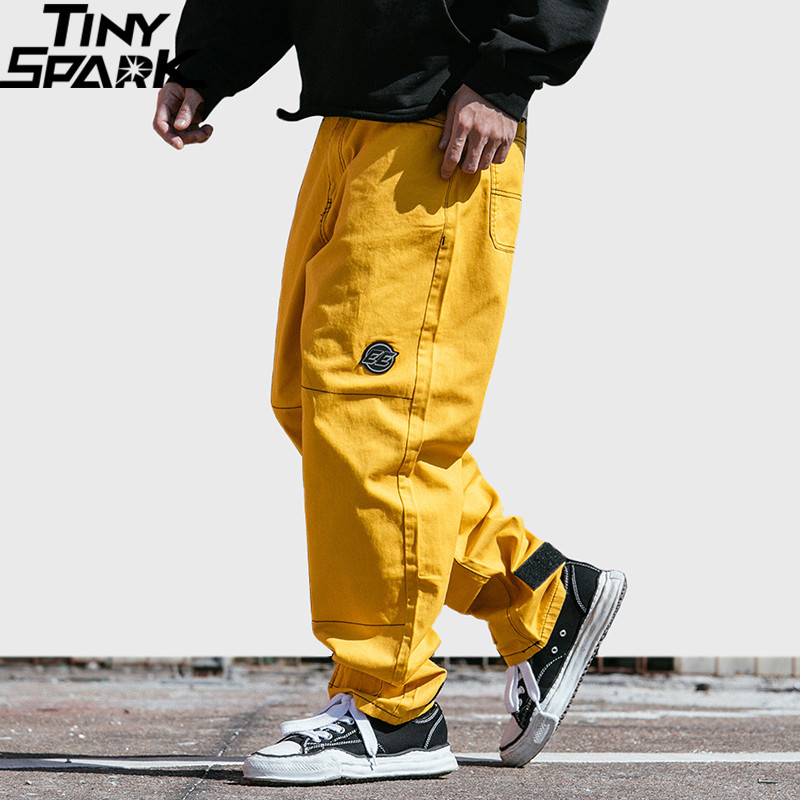 Hip Hip Pant Streetwear Men Harajuku Cargo Pant Denim Baggy Joggers Pant 2019 Sring Hipster Long Trousers Yellow Street Wear-in Cargo Pants from Men's Clothing