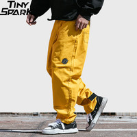 Hip Hip Pant Streetwear Men Harajuku Cargo Pant Denim Baggy Joggers Pant 2019 Sring Hipster Long Trousers Yellow Street Wear