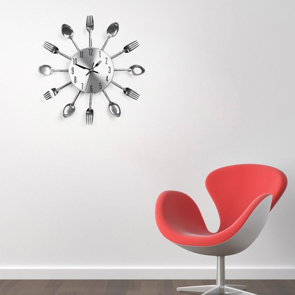 Diseño moderno reloj de pared de plata cuchillería cocina Reloj de ...