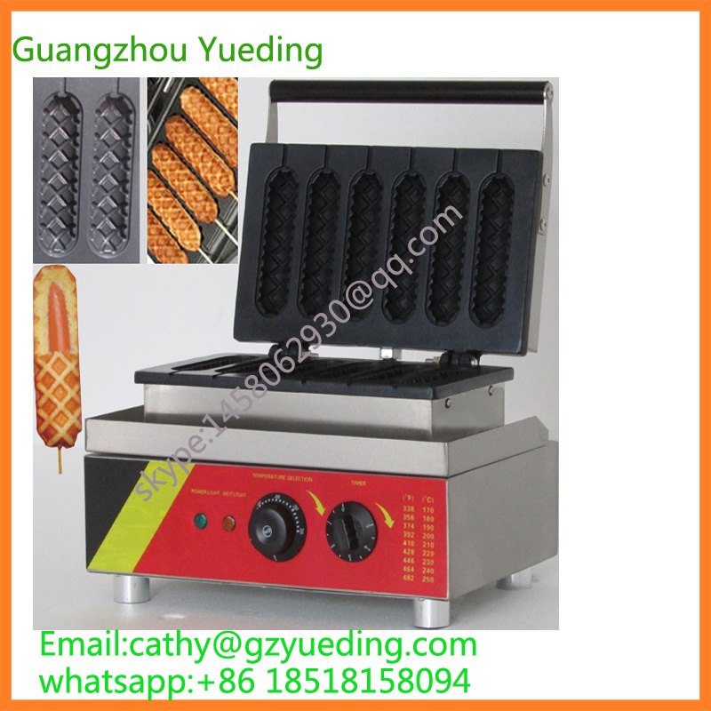 6 pieces Single plate muffin making machine , Waffle hot dog stick maker , Lolly waffle maker