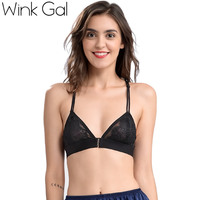Wink Gal New Fashion Women Bralette Lace Bra Brassiere Plunge Female Lingerie Transparent Semi Sheer Underwear