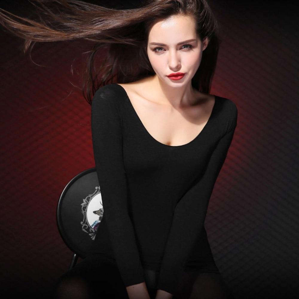 Women Thermal Underwear Sets 37 Degree Constant Temperature Long Johns Super Elastic Ultrathin Heat-generating Tops & Bottoms